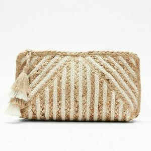 White and Tan Woven Clutch